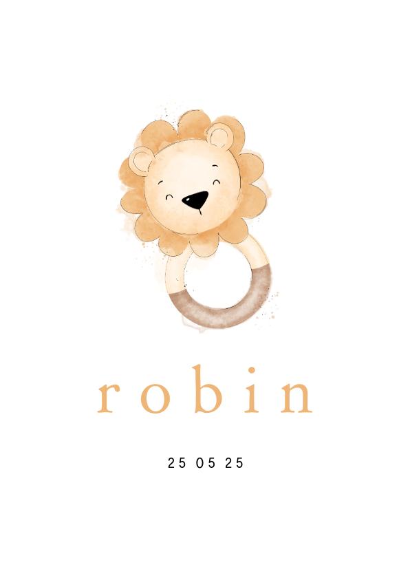 Geboortekaartjes - Stijlvol geboortekaartje met leeuwtje bijtring