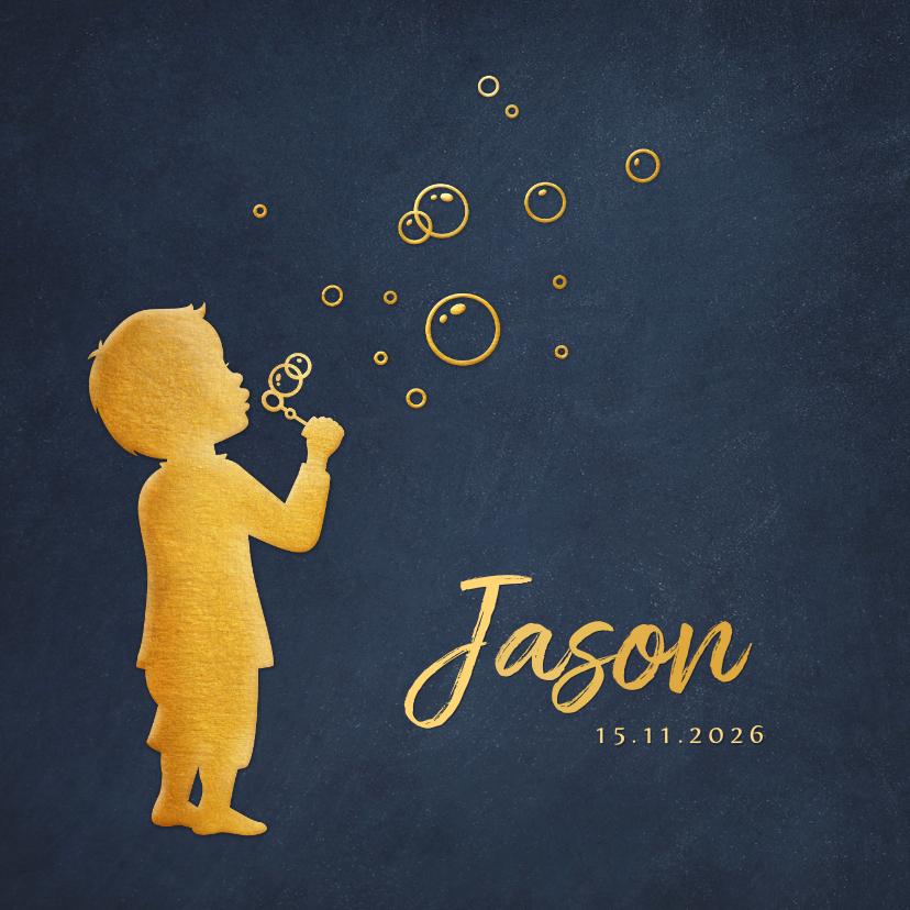 Geboortekaartjes - Stijlvol geboortekaartje voor jongen - bellenblaas silhouet
