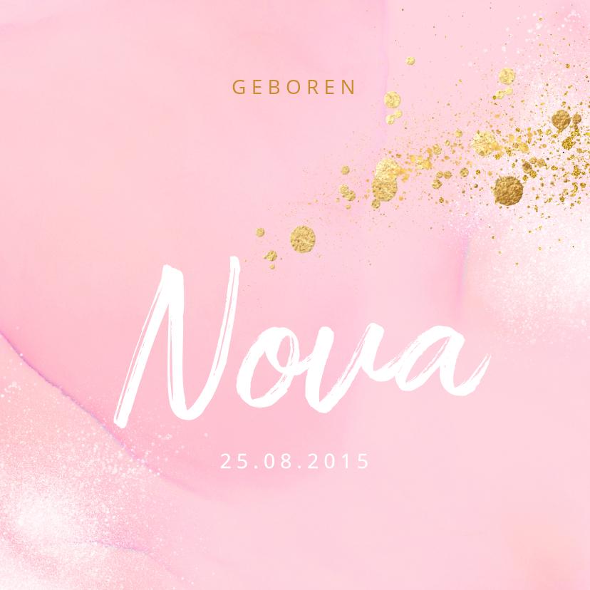 Geboortekaartjes - Stijlvol roze geboortekaartje goud spetters