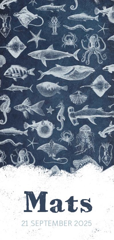 Geboortekaartjes - Stoer en hip geboortekaartje zeedieren illustraties
