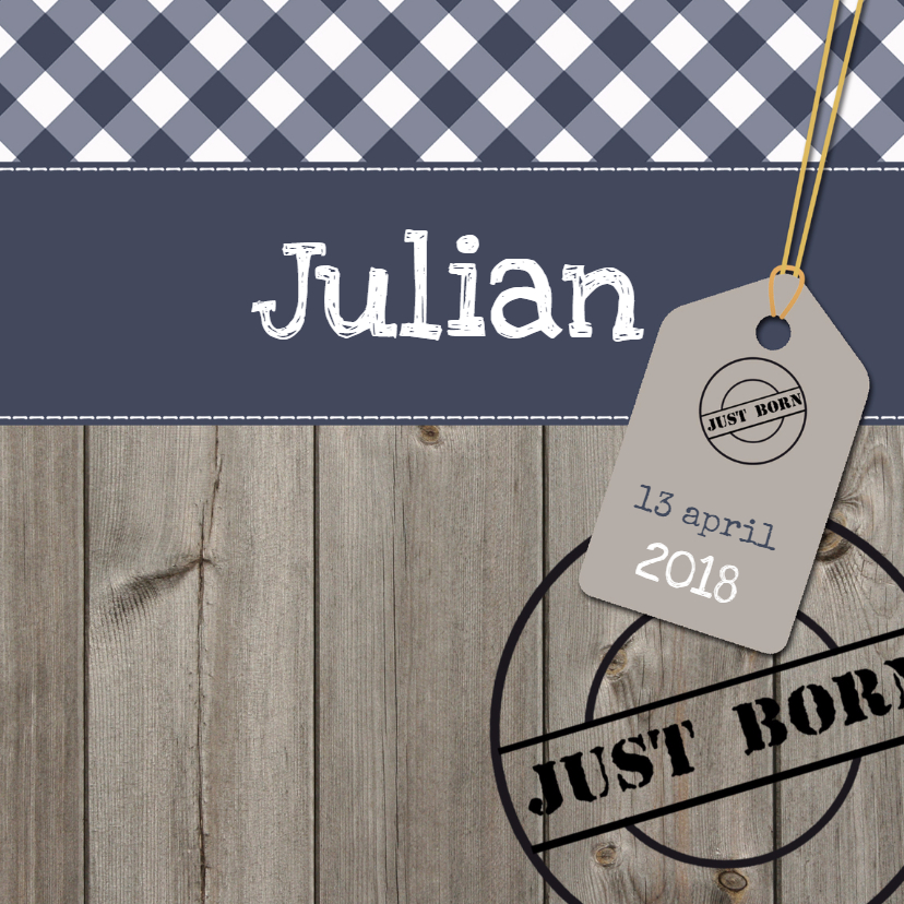 Geboortekaartjes - Stoer geboortekaartje Julian SS
