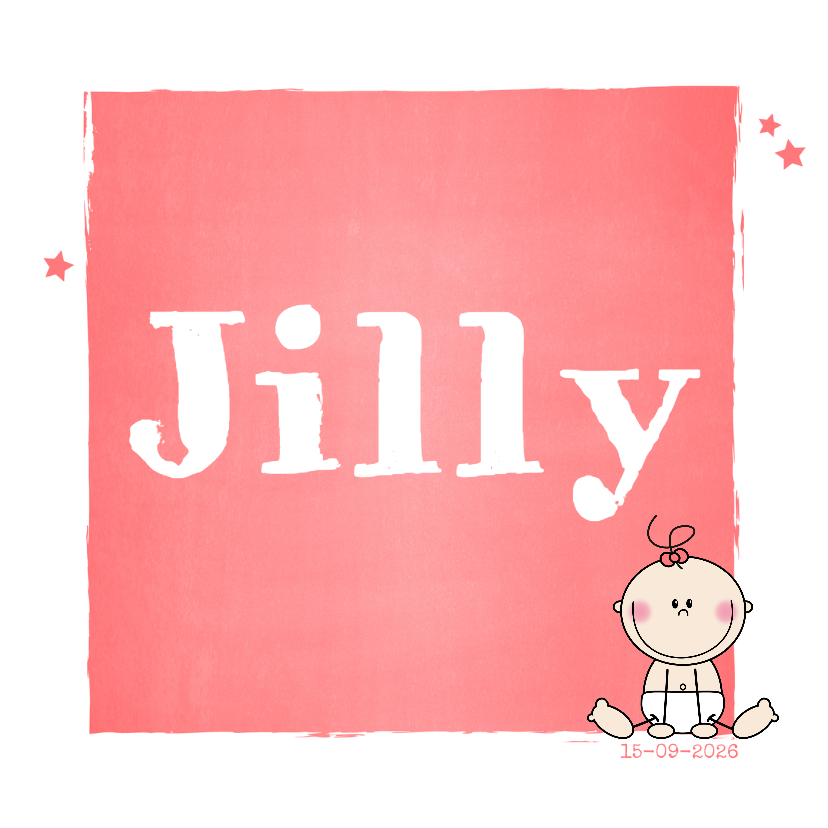 Geboortekaartjes - Stoer geboortekaartje meisje met strik zalm