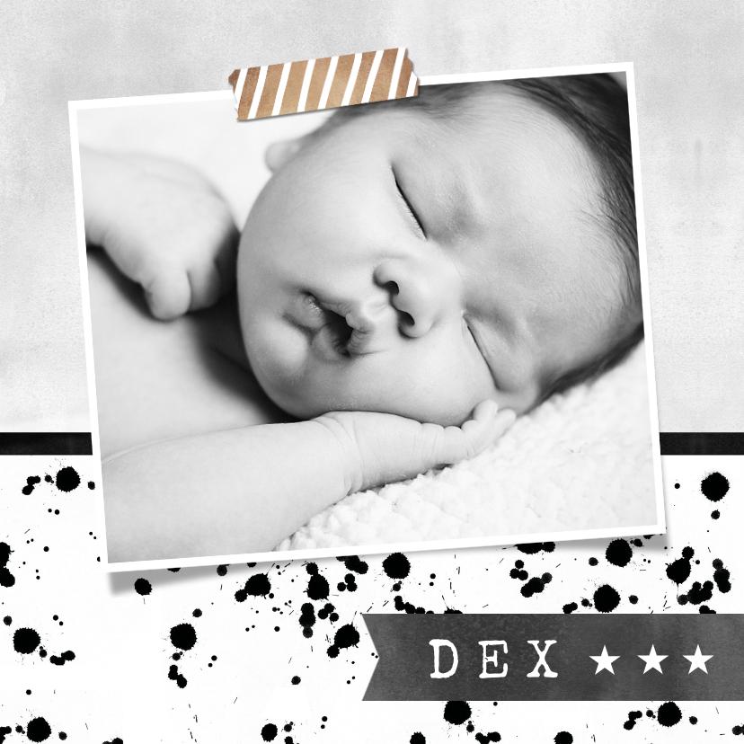 Geboortekaartjes - Stoer geboortekaartje monochrome met spetters en foto