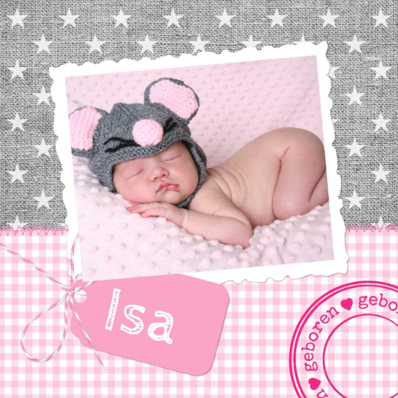 Geboortekaartjes - Stoer Linnen Sterren Isa