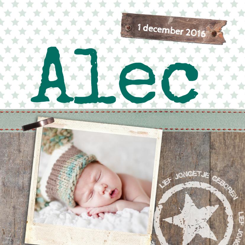 Geboortekaartjes - Stoere jongen foto geboorte