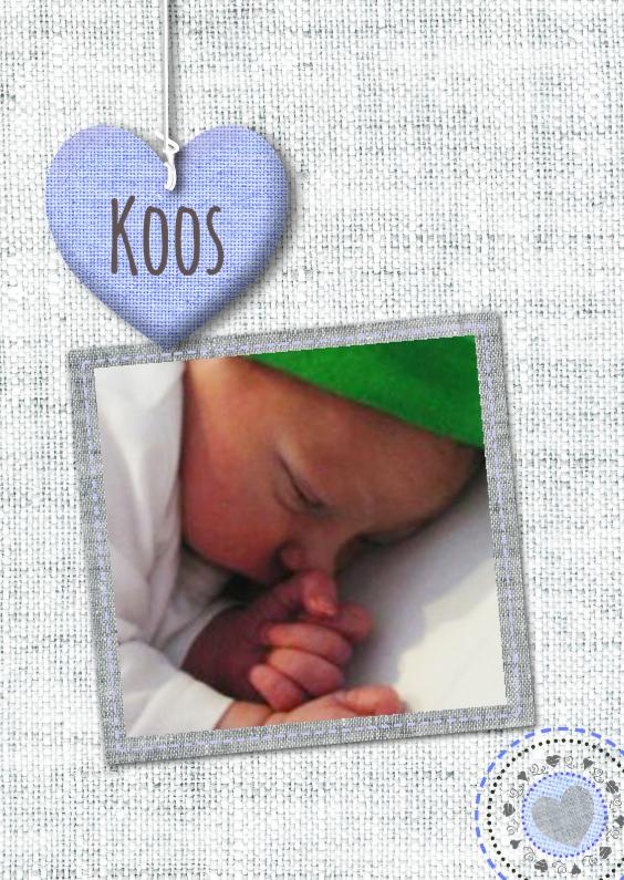 Geboortekaartjes - Stofjes stikselprint hart foto