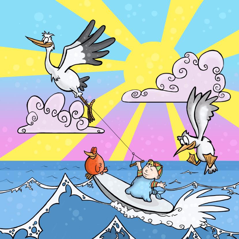 Geboortekaartjes - Surfen in de zon
