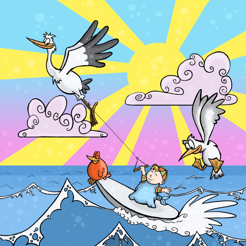 Felicitatiekaarten - Surfen in de zon