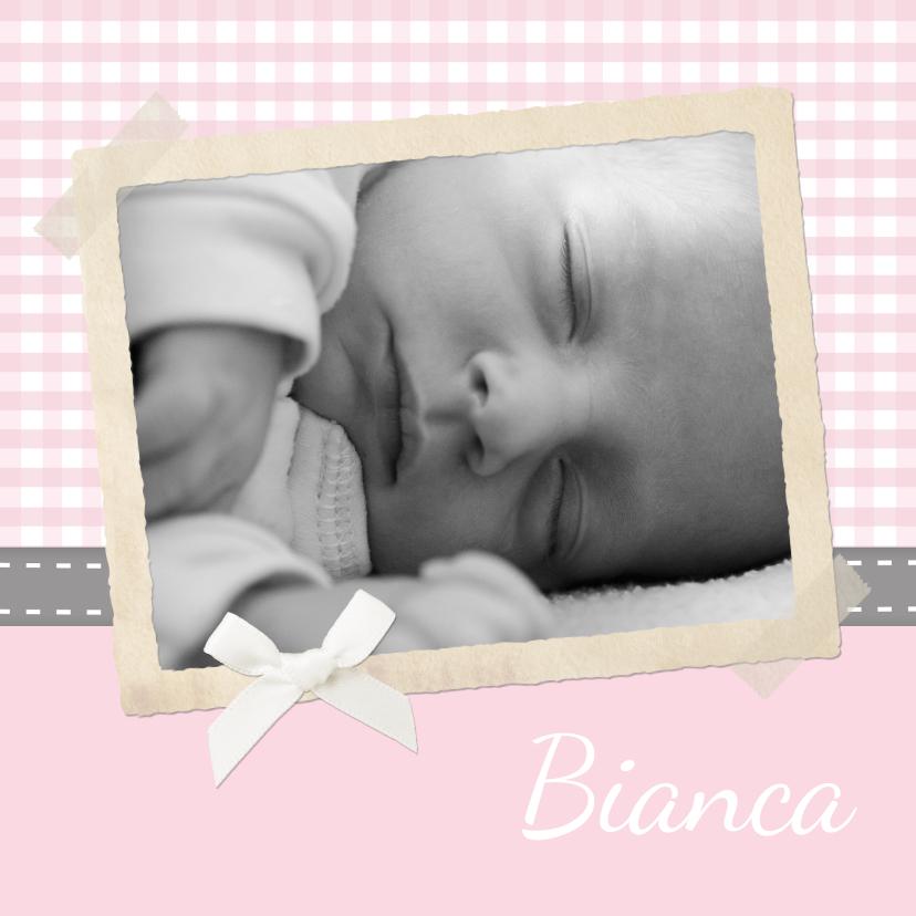 Geboortekaartjes - Traditioneel Roze Polaroid 1LSe