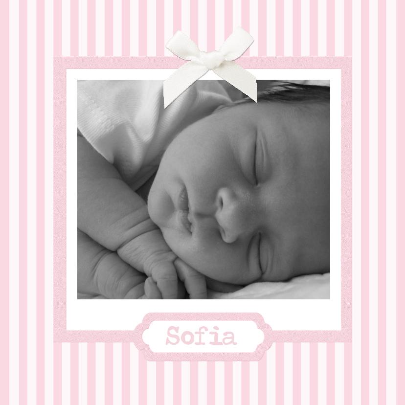 Geboortekaartjes - Traditioneel streepjes roze 1LS3