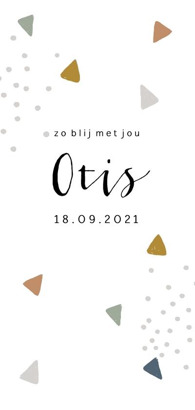 Geboortekaartjes - Trendy geboortekaartje met gekleurde driehoekjes