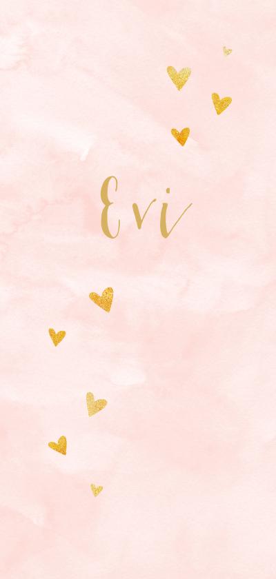 Geboortekaartjes - Trendy meisjes geboortekaartje met gouden hartjes