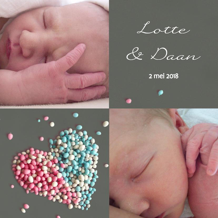 Geboortekaartjes - Tweeling Muizenhart fotokaart