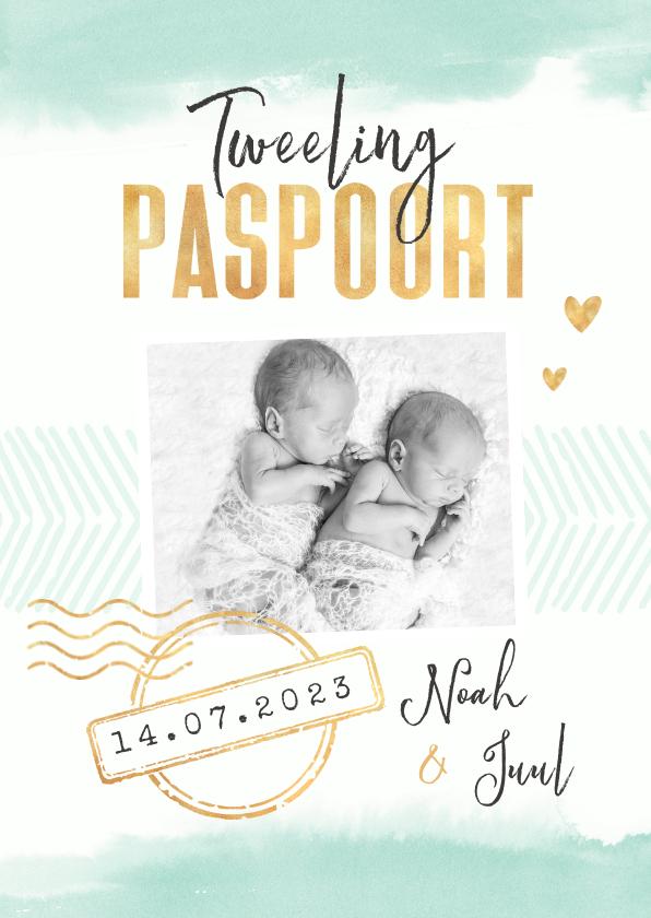 Geboortekaartjes - Tweeling paspoort geboortekaartje unisex waterverf goud
