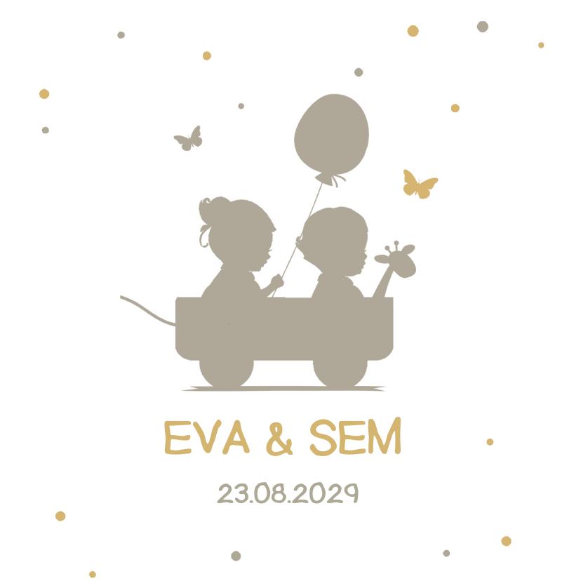 Geboortekaartjes - Tweeling silhouet kaartje