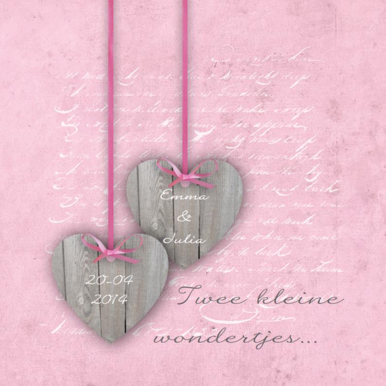 Geboortekaartjes - Tweeling Two Hearts Roze