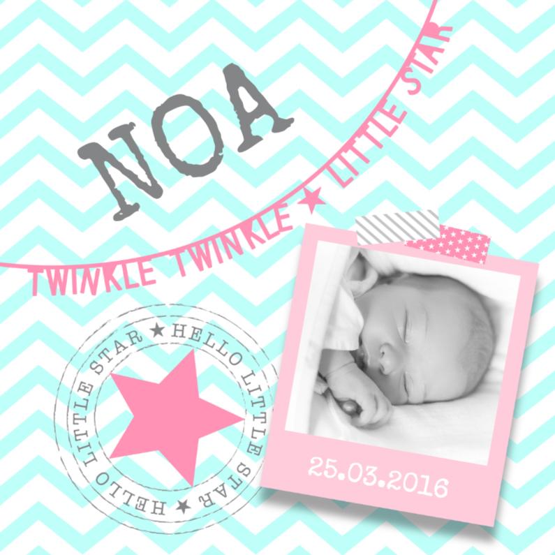 Geboortekaartjes - Twinkle Star Pink & Mint