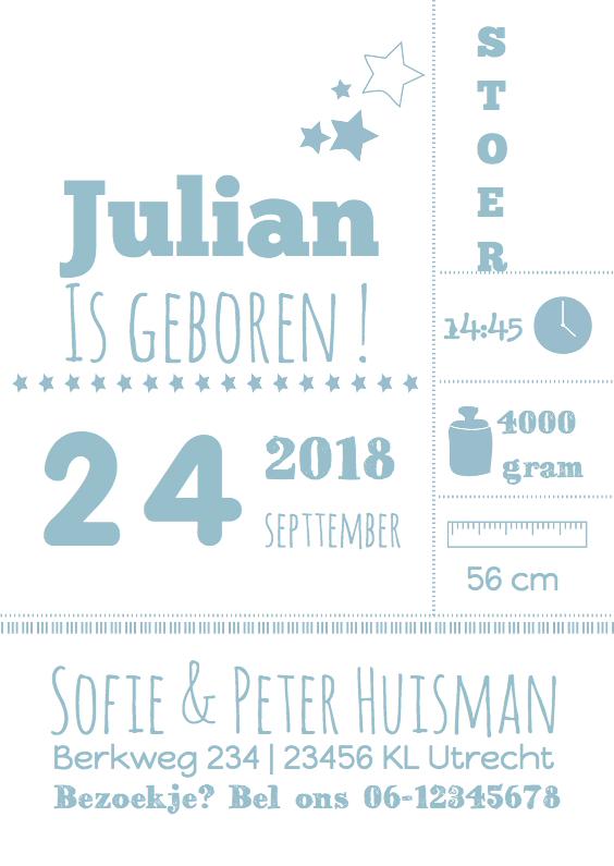 Geboortekaartjes - Typografie geboortekaartjeJulian