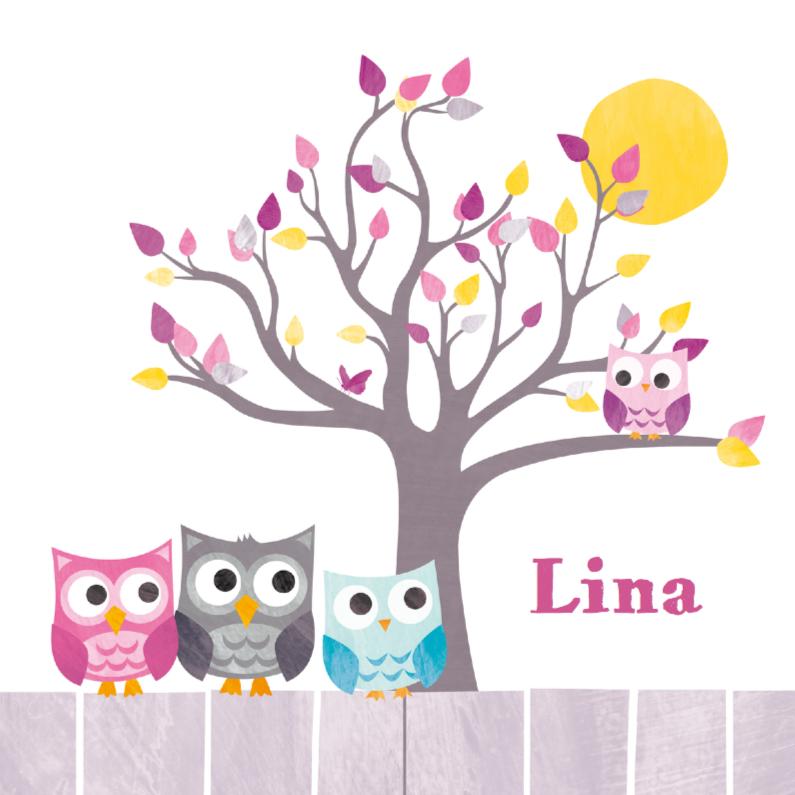 Geboortekaartjes - Uiltje in boom met familie uil