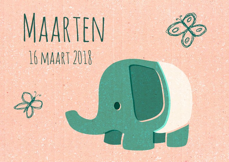 Geboortekaartjes - Vintage olifantje groen
