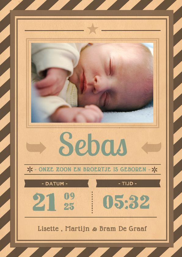 Geboortekaartjes - Vintage poster zoon 1LS3