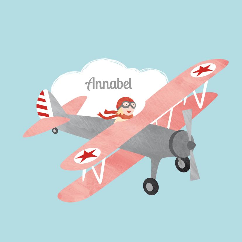 Geboortekaartjes - Vliegtuig meisje geboortekaartje