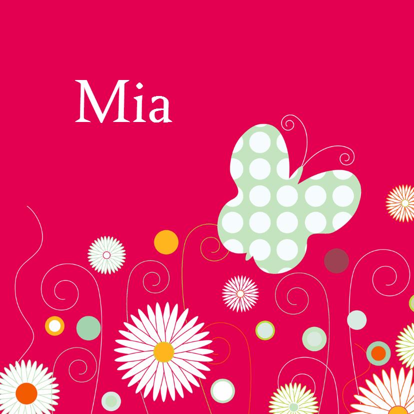 Geboortekaartjes - Vlinder bloemen knalroze