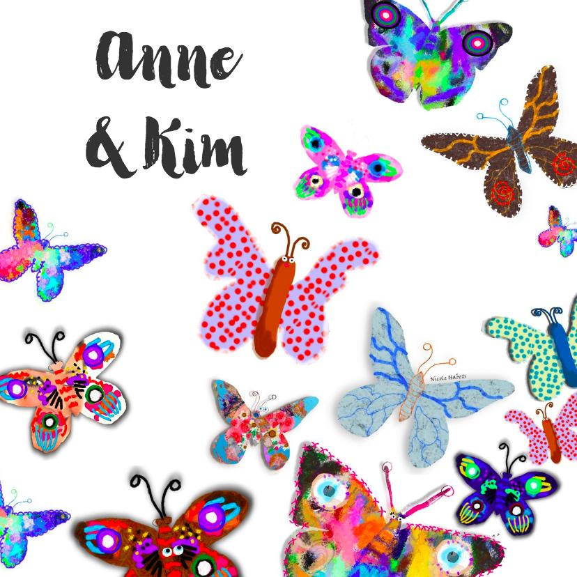 Geboortekaartjes - vlinders en vlinders