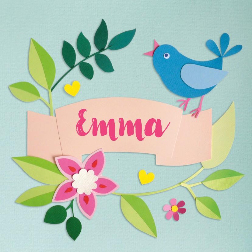 Geboortekaartjes - Vogel en bloemen geboortekaartje mint