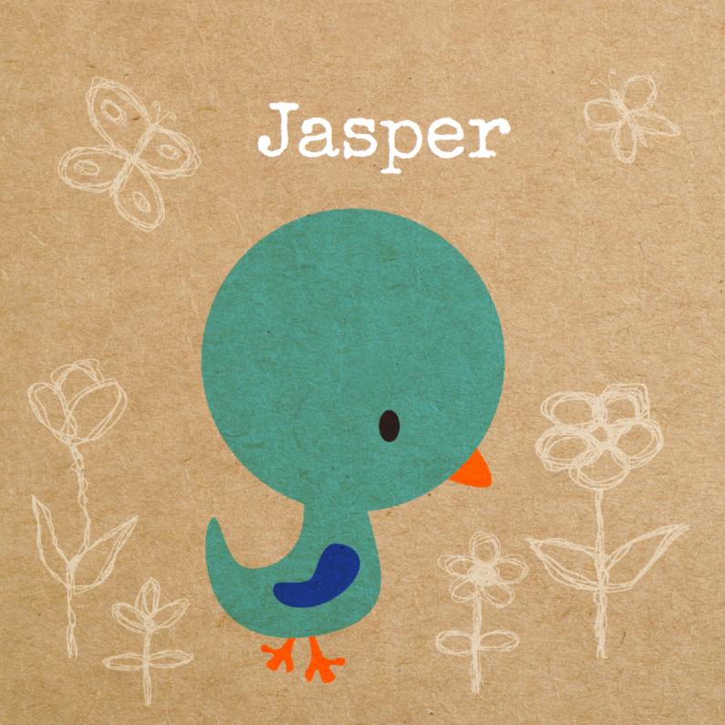 Geboortekaartjes - Vogeltje blauw jongen