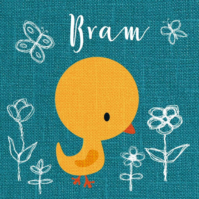 Geboortekaartjes - Vogeltje geel op blauw jongen