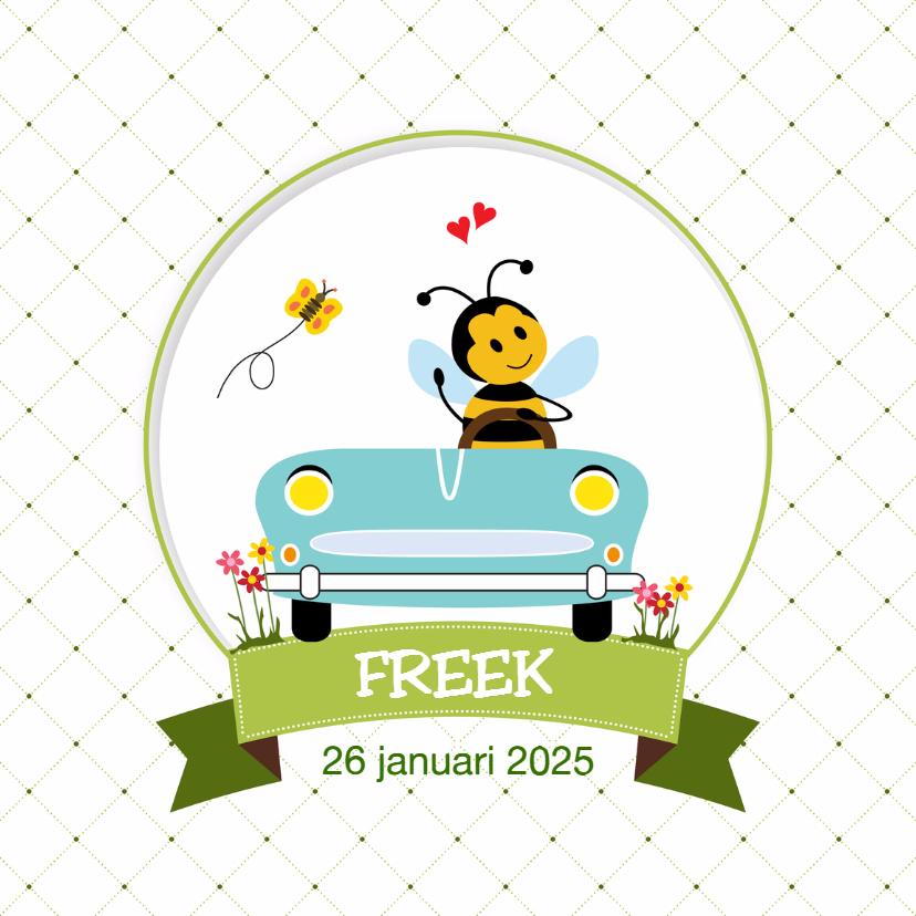 Geboortekaartjes - Vrolijk bij-tje in blauwe auto