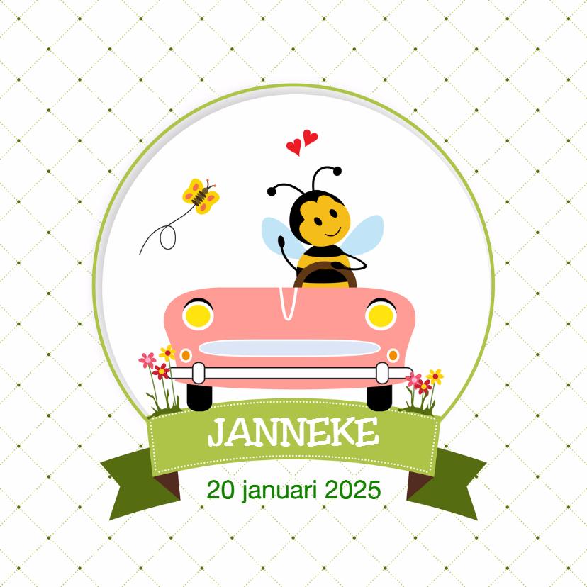 Geboortekaartjes - Vrolijk bij-tje in roze auto