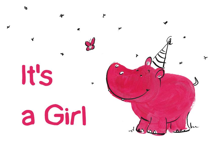 Geboortekaartjes - Vrolijk Geboortekaart  Nijlpaard
