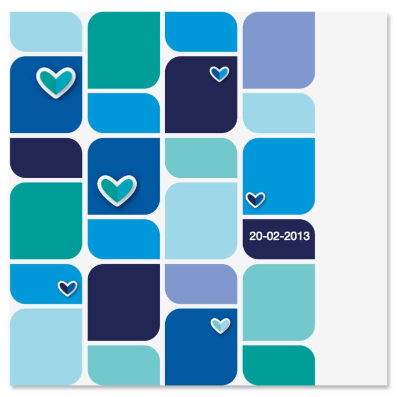 Geboortekaartjes - vrolijk geboortekaartje 46 blauw bloem