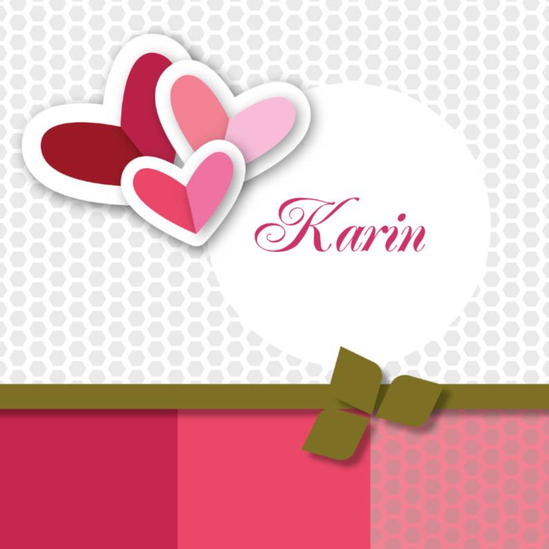 Geboortekaartjes - vrolijk geboortekaartje 62 roze hart