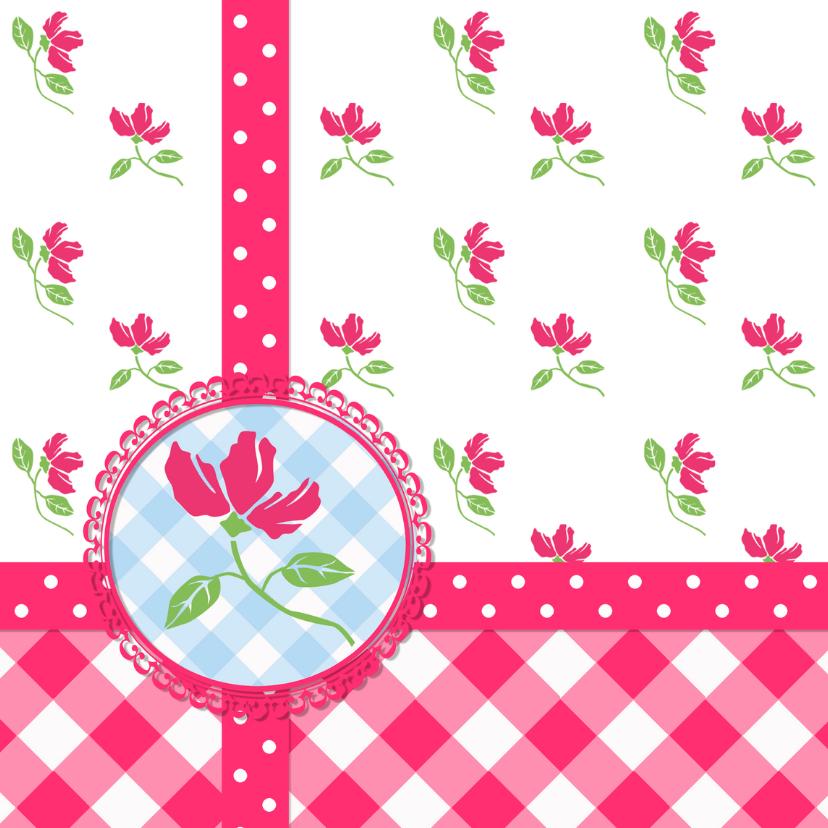 Geboortekaartjes - Vrolijke happy flowers kaart