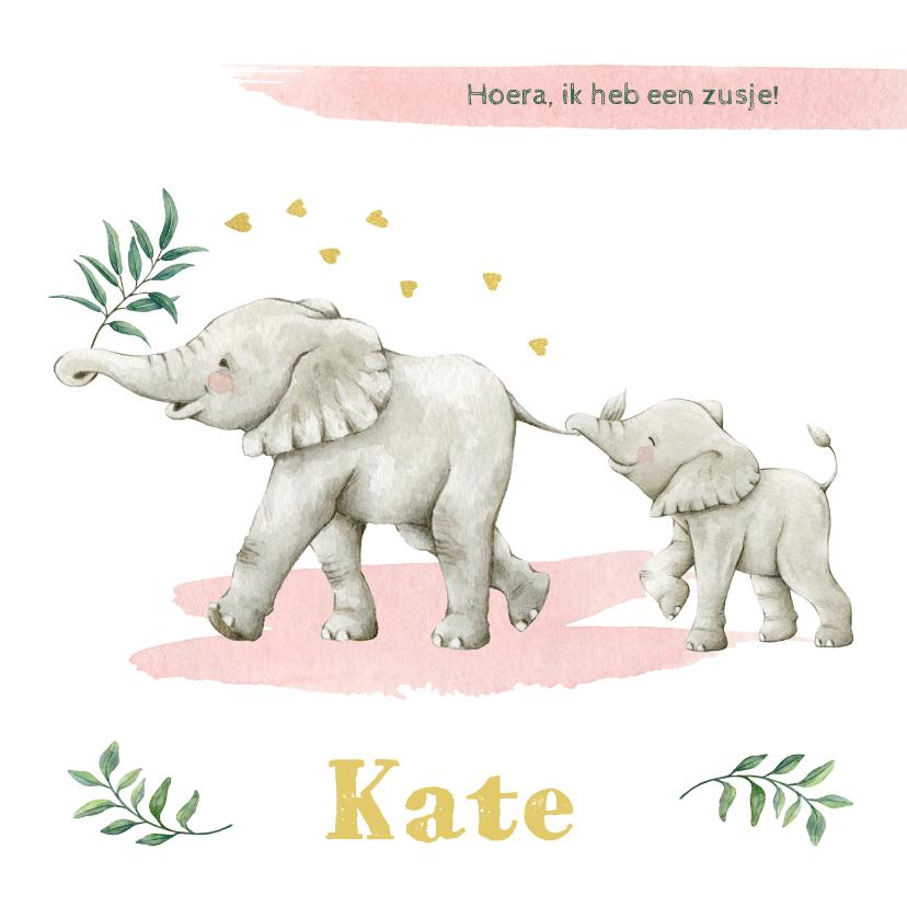 Geboortekaartjes - Vrolijke olifantjes op botanisch geboortekaartje zusje