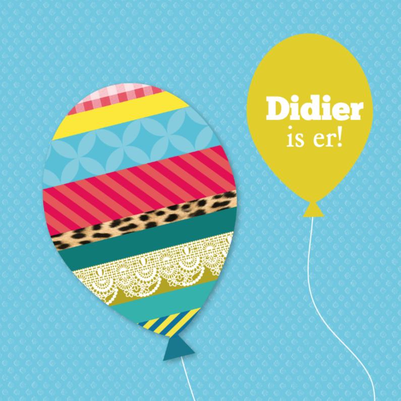 Geboortekaartjes - Washitape ballonnen jongen