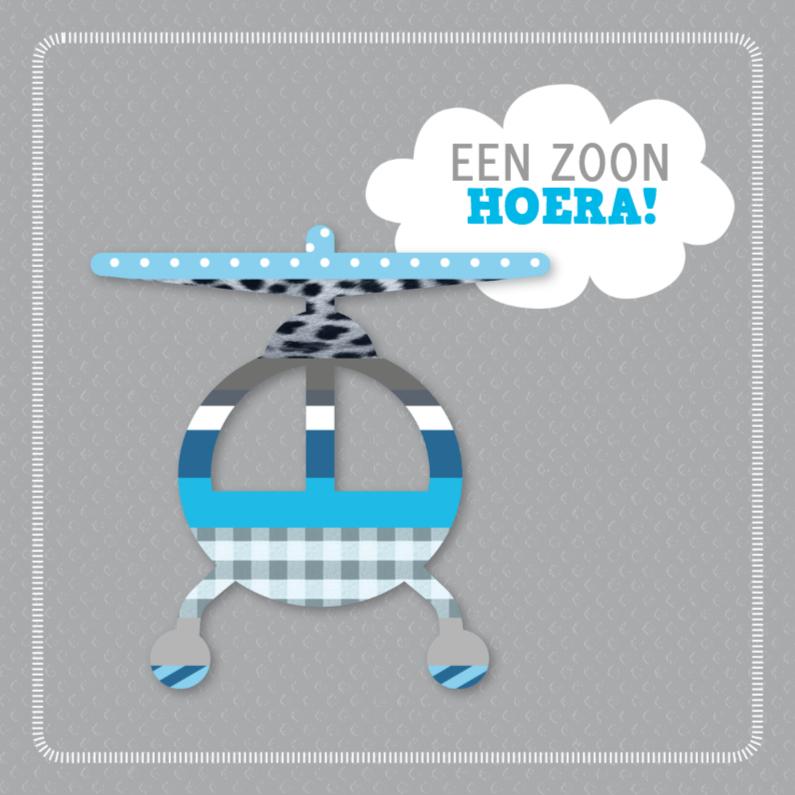 Geboortekaartjes - Washitape helikopter jongen