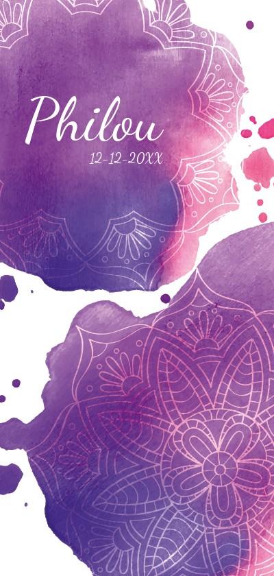 Geboortekaartjes - Waterverf en mandala geboortekaart voor meisje