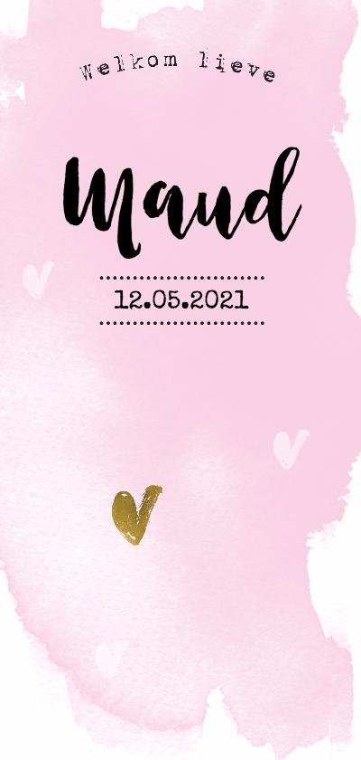 Geboortekaartjes - Waterverf geboortekaartje meisje - LO