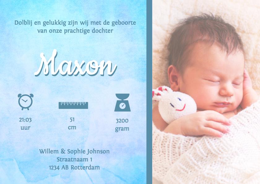 Geboortekaartjes - Waterverf grote foto Maxon - DH