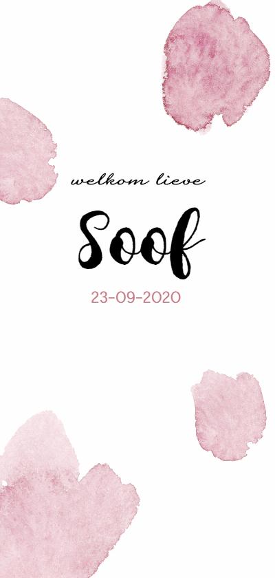 Geboortekaartjes - Waterverf vlekken roze