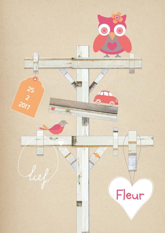 Geboortekaartjes - Wegwijzer boom kaartje Fleur