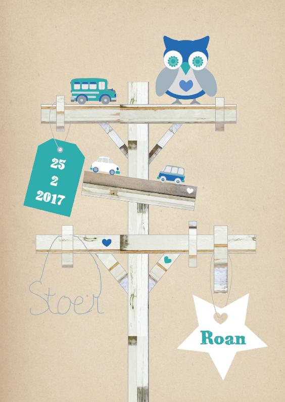 Geboortekaartjes - Wegwijzer Sloophout kaartje Roan