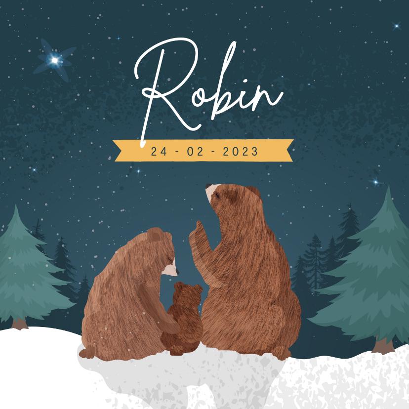 Geboortekaartjes - Winters geboortekaartje met illustratie van 3 beren