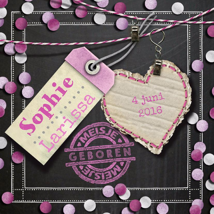 Geboortekaartjes - YVON geboorte confetti roze