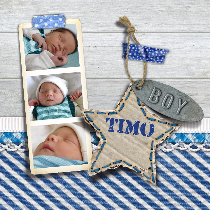 Geboortekaartjes - YVON geboorte hout foto