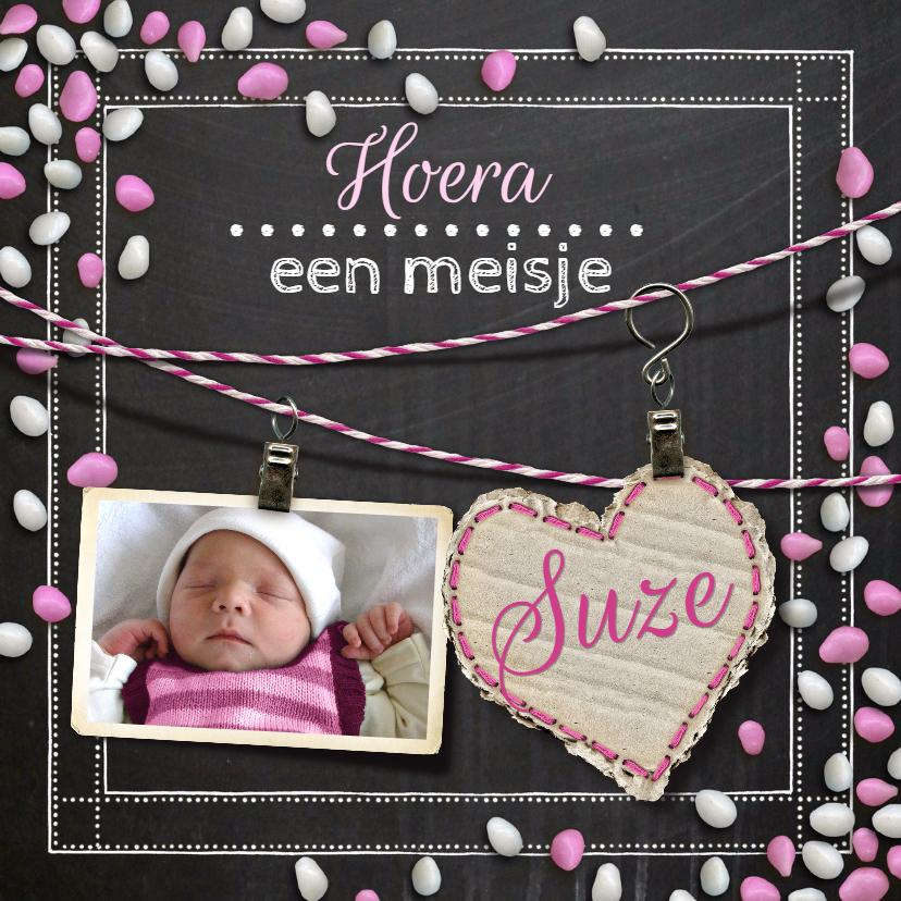 Geboortekaartjes - YVON geboorte krijtbord roze